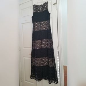 Sandra Darren Lace crochet maxi dress black/nude 8